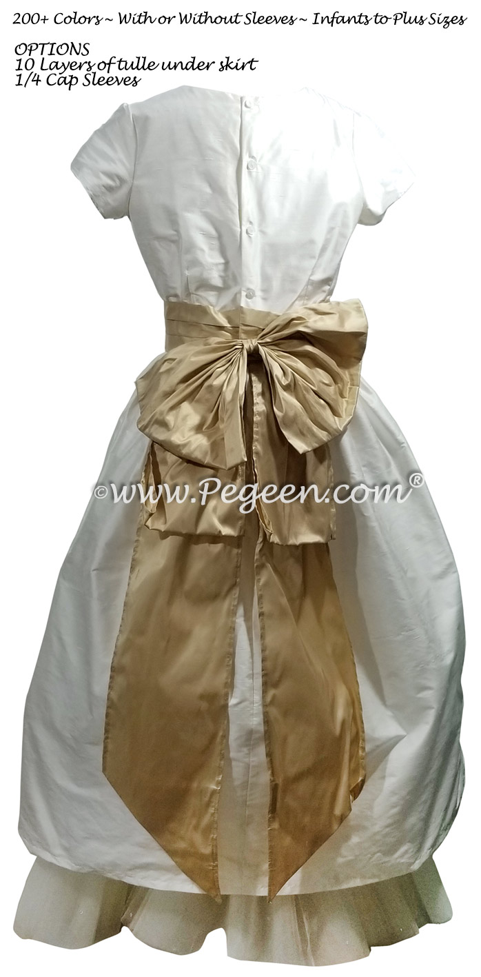 Ivory Silk with Tulle Underskirt Flower Girl Dress