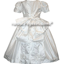White Silk communion dress with Cinderella Bow