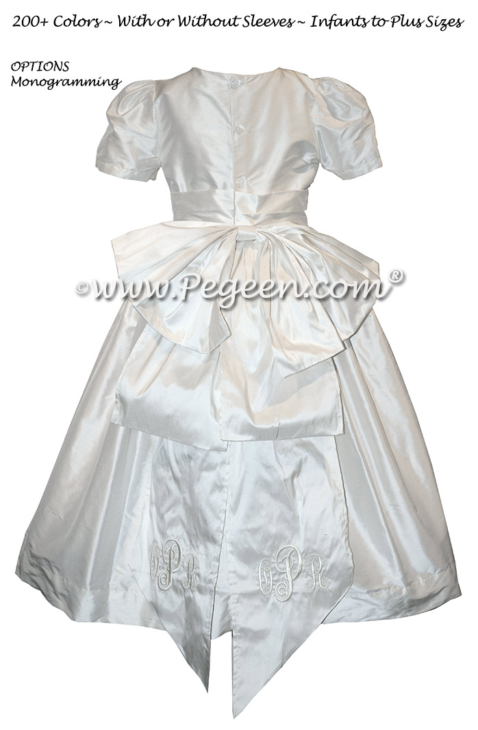 White Silk communion dress with Cinderella Bow - Style 345