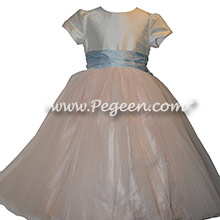 Custom Pink and Blue Silk Flower Girl Dresses