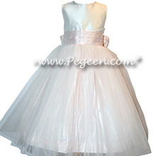 Ivory shantung and blush pink tulle and silk flower girl dresses  | Pegeen