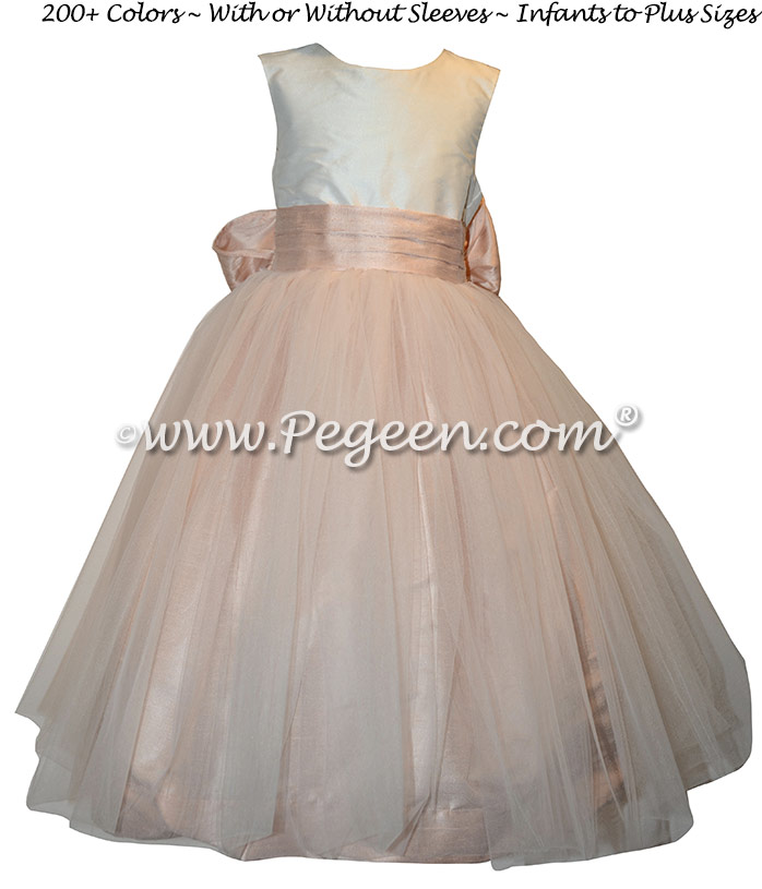 Ballet pink and ivory tulle and silk custom flower girl dresses Style 356