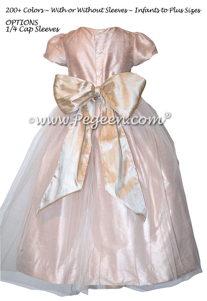Ballet Pink and Toffee Custom Silk Flower Girl Dresses