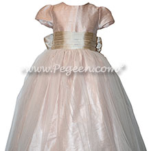 Ballet Pink and Toffee Custom Silk Flower Girl Dresses Style 356 | Pegeen