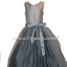 Gray and Blue Silk and Tulle Flower Girl Dresses