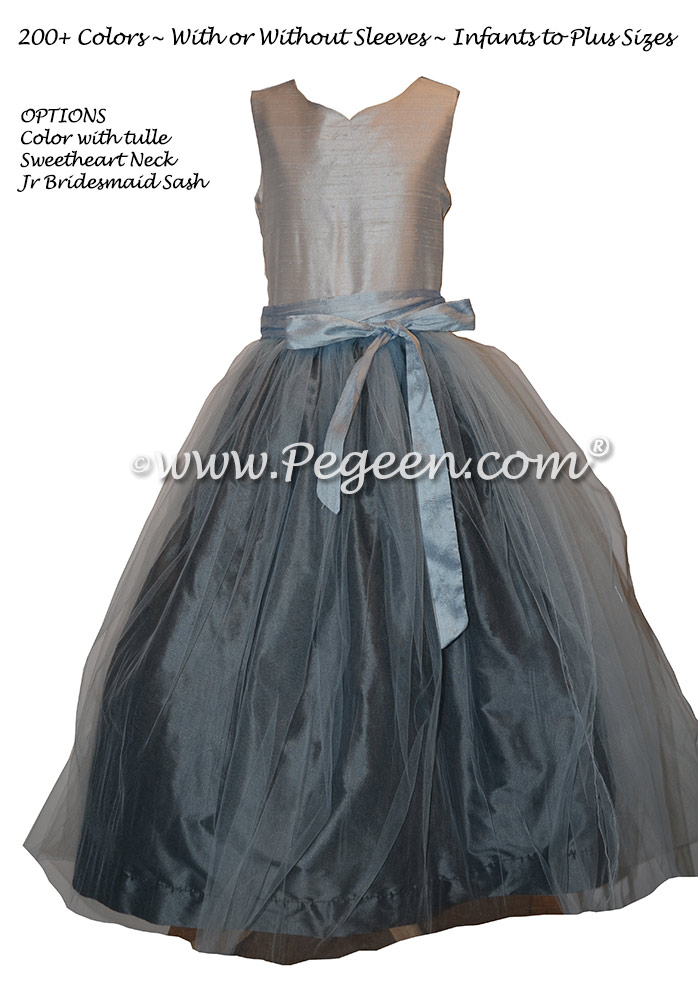 Light Gray and Blue Silk and Tulle Flower Girl Dresses Pegeen Classic Style 356
