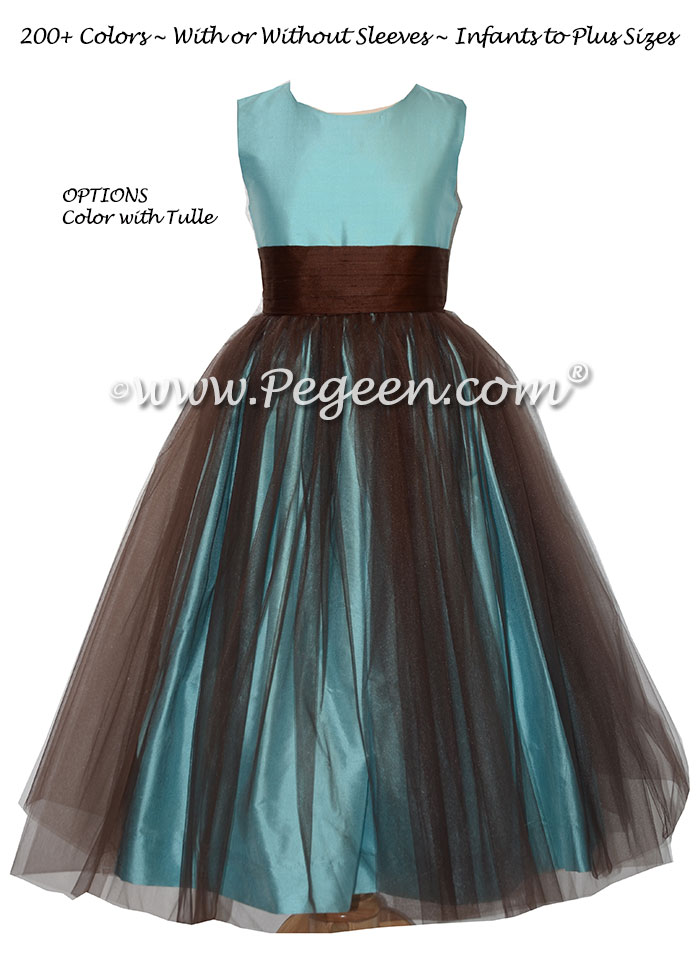 Custom Chocolate and Bahama Breeze Blue Silk Flower Girl Dresses