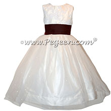 Burgundy and white tulle flower girl dress style 356| Pegeen