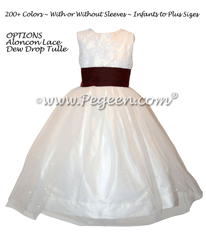 Custom Silk Flower Girl Dress in Burgundy with Lace | Pegeen