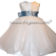 Custom Flower Girl Dresses in Antique White and Caribbean Blue