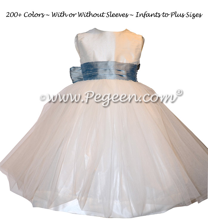 Custom Flower Girl Dresses in Antique White and Caribbean Blue Style 356 by Pegeen
