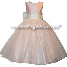 Ivory shantung and champagne pink tulle and silk flower girl dresses
