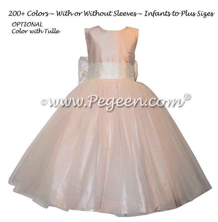 Pink and champagne pink tulle and silk flower girl dresses Style 356