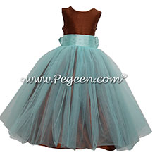 Chocolate Brown and Pond Blue Custom Silk and Tulle flower girl dresses