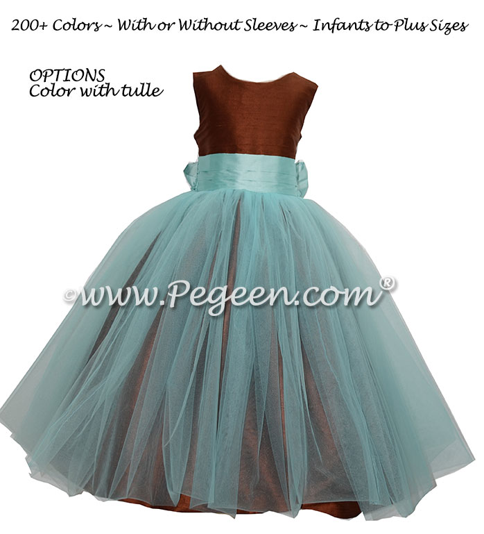 White and Pond Blue Custom Silk and Tulle flower girl dresses - Style 356