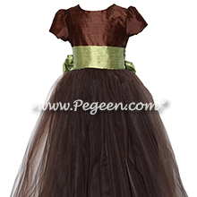 Custom Chocolate and Citrus Green Silk Flower Girl Dresses