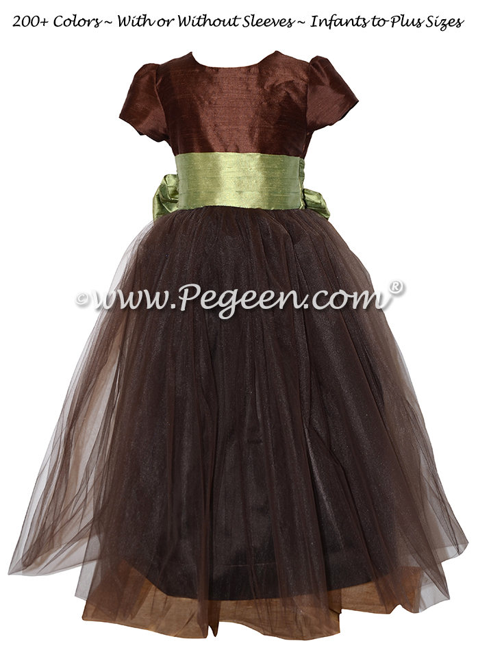 Silk Flower Girl Dresses in Custom Chocolate and Sage Green | Pegeen
