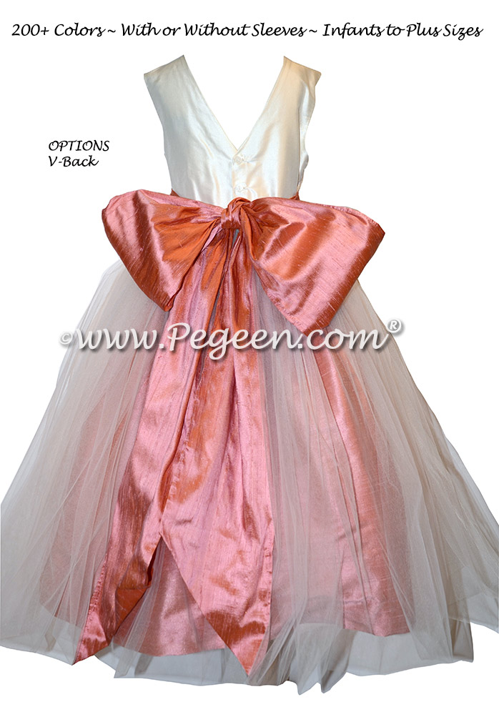 Flower girl dresses - Style 356 Ivory and Coral Rose Silk | Pegeen