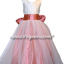 Ivory and Coral Rose Silk flower girl dresses