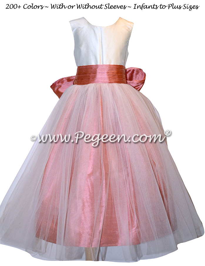 Ivory and Coral Rose Silk flower girl dresses - Style 356
