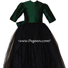 Forest Green and Black 3/4 Sleeve Tulle Flower Girl Dress