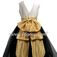 Ivory, black and gold silk flower girl dress with v-back