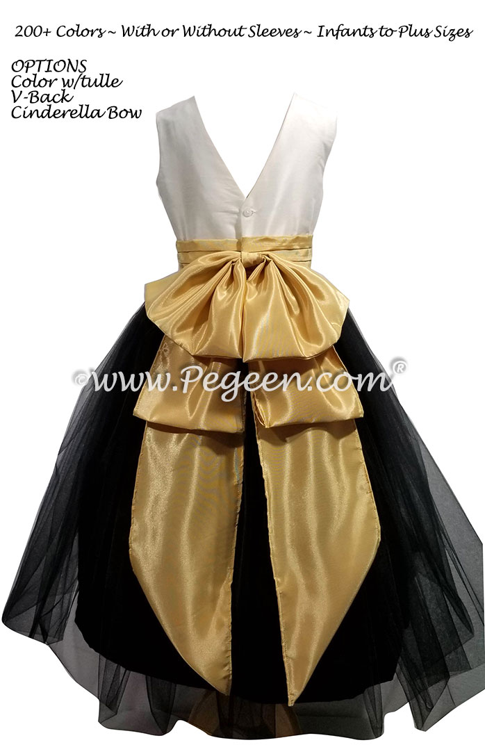 356 Black, New Ivory and Spun Gold flower girl dress