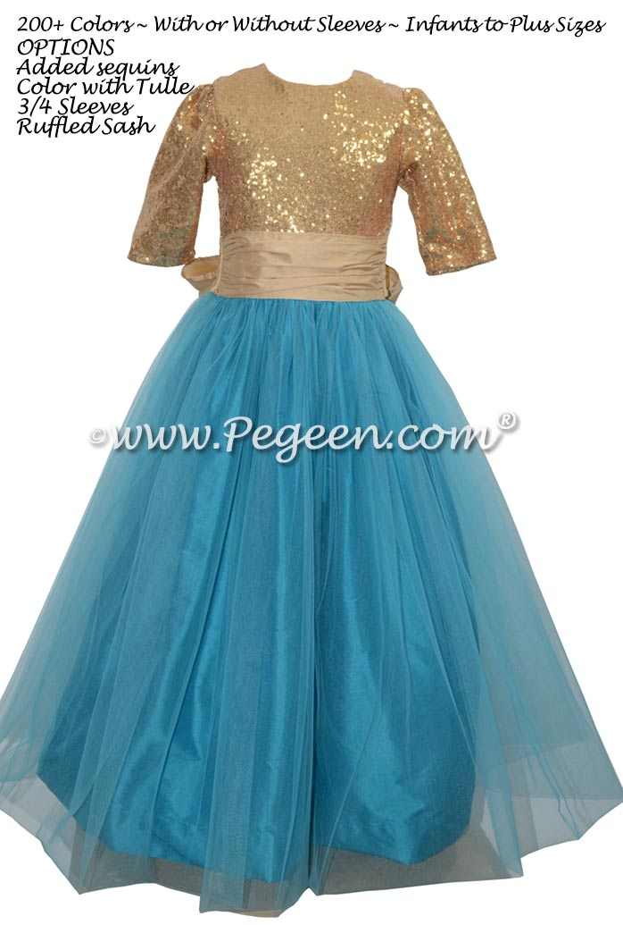Gold sequined and teal tulle flower girl dress