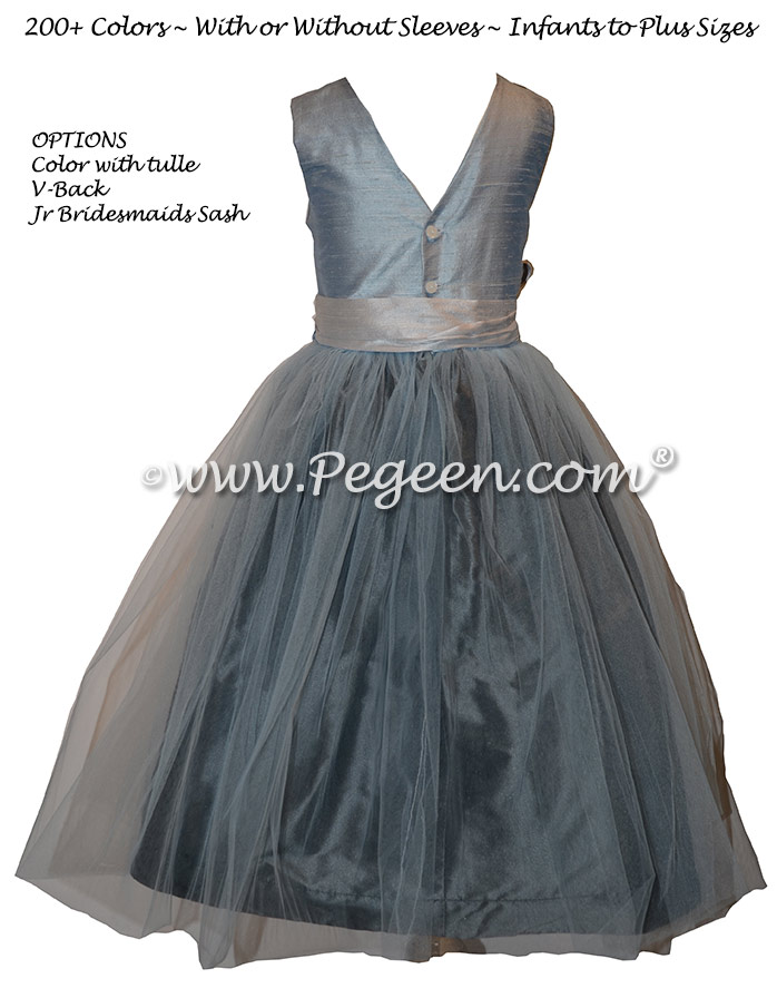 Flower girl dress in platinum gray and cloud blue silk and tulle | Pegeen