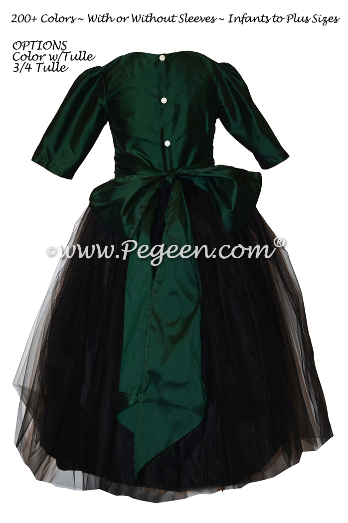 Emerald green and black silk flower girl dress Style 356