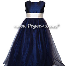 IVORY AND NAVY SILK  FLOWER GIRL DRESSES with NAVY TULLE - Classic Style 356 | PEGEEN