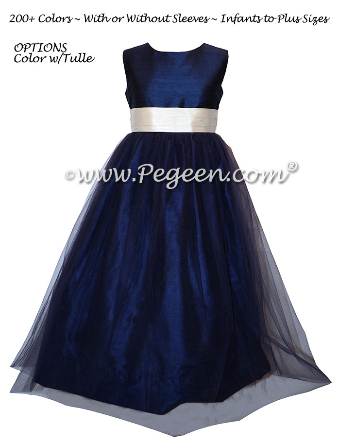 Bisque and Navy Ballerina Flower Girl Dresses With Navy Tulle