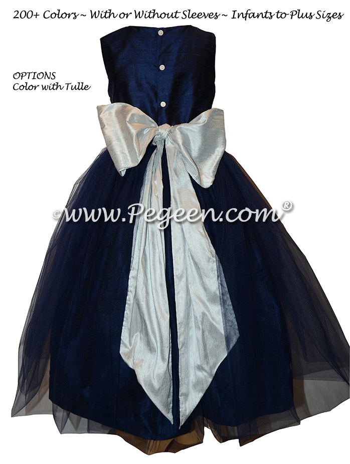 Flower Girl Dress Style 356 in Navy and Platinum Gray Silk | Pegeen