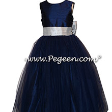 Navy and Platinum Gray Silk flower girl dresses