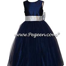 Navy and Platinum Gray Silk flower girl dresses