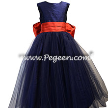 Navy and Brick Red Tulle and Silk flower girl dresses