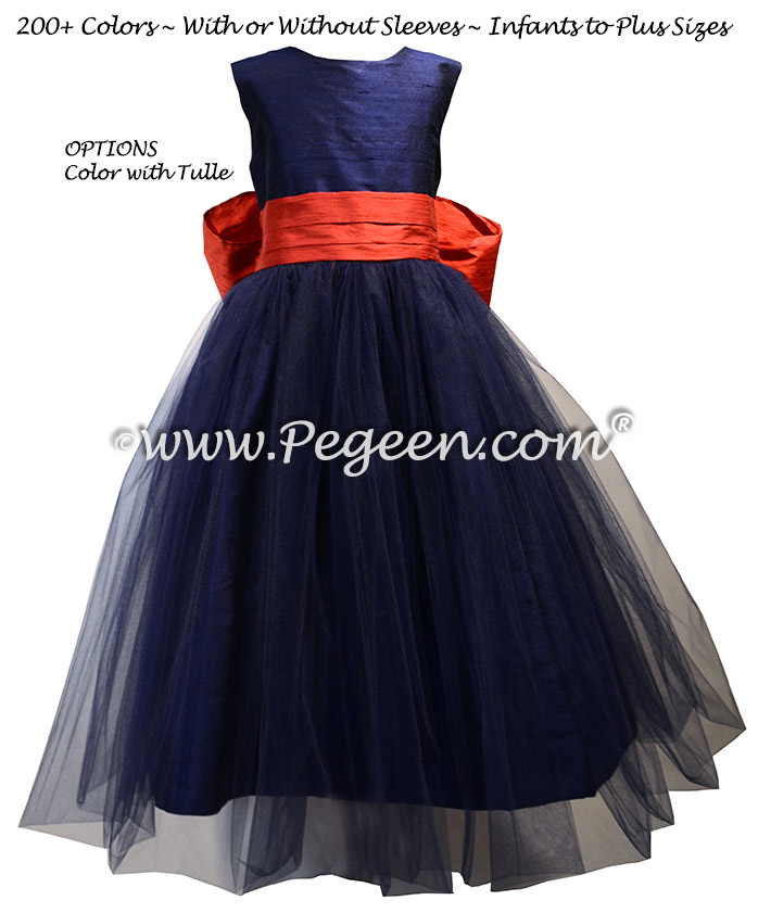 Navy and Brick Red Tulle and Silk flower girl dresses - Style 356