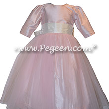 Champagne pink tulle and silk flower girl dresses with 3/4 Sleeves