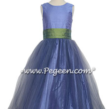 Silk Flower Girl Dresses Style 356 in Periwinkle and Winter Green