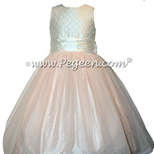 Pink and Ivory Pintuck and Pearled Custom Silk flower girl dresses