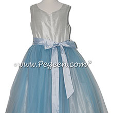 Platinum and Cloud Blue Silk and Tulle flower girl dressses