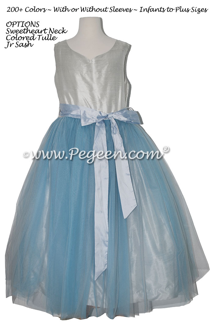 Cloud Blue and Platinum Gray tulle and silk Jr Bridesmaids Dresses