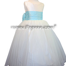 White and Pond Blue Custom Silk flower girl dresses