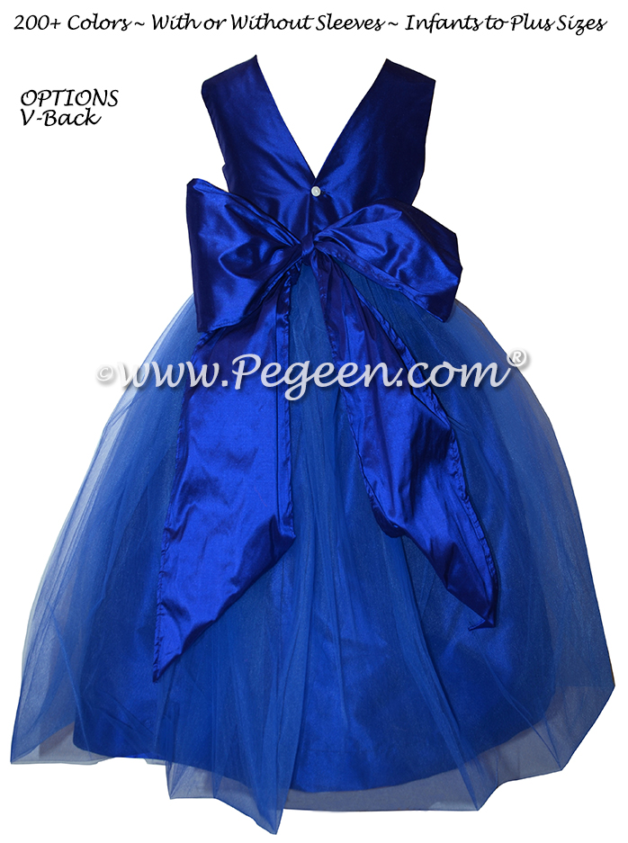 Flower Girl Dresses in Sapphire Silk & Tulle Style 356 | Pegeen