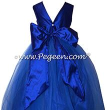 Custom Sapphire Silk & Tulle Flower Girl Dresses Style 356