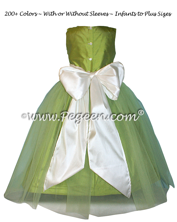Flower girl dresses - Apple Green and White Silk Style 356 | Pegeen
