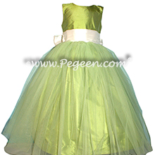 Apple Green and White Silk flower girl dresses