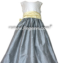 Gray and yellow custom silk flower girl dresses