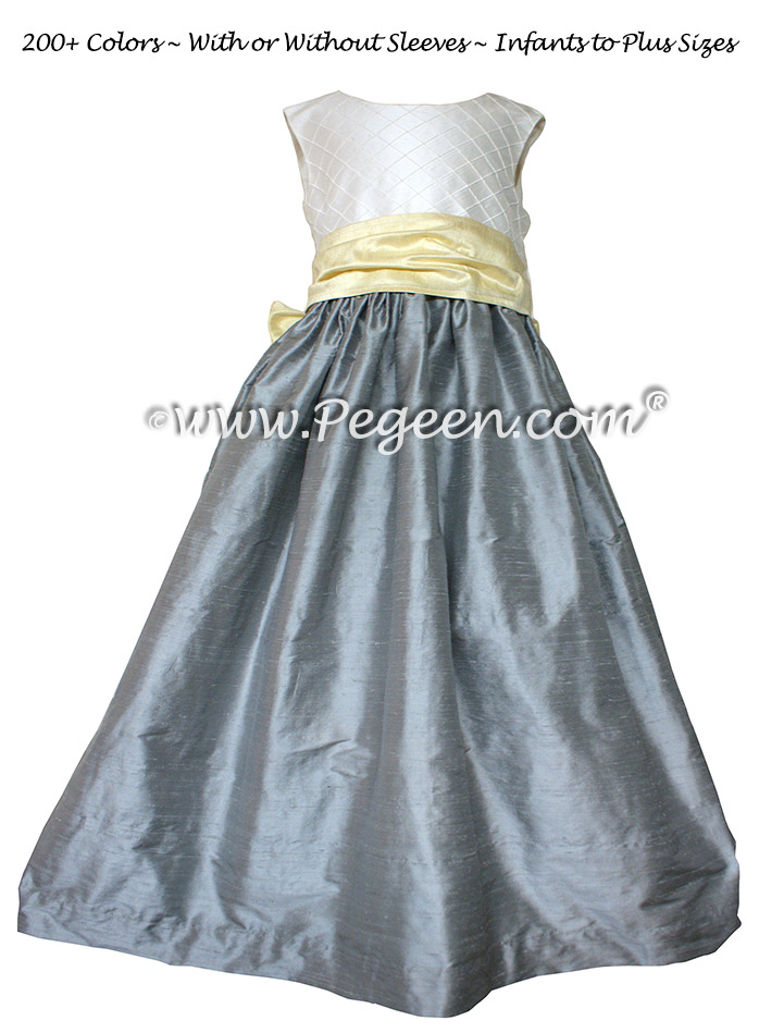 Gray and yellow custom silk flower girl dresses - Style 357