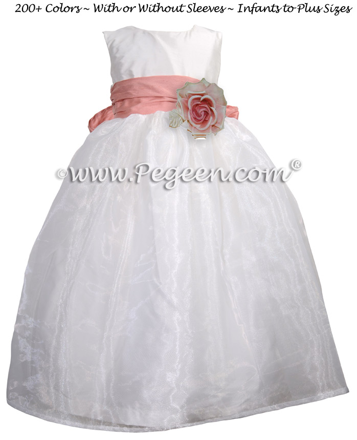 Ballet Pink and White Silk and Organza Flower Girl Dress